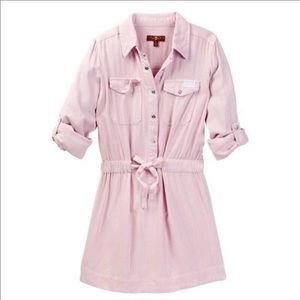 7 for All Mankind Pink Snap Front Shirt Dress L